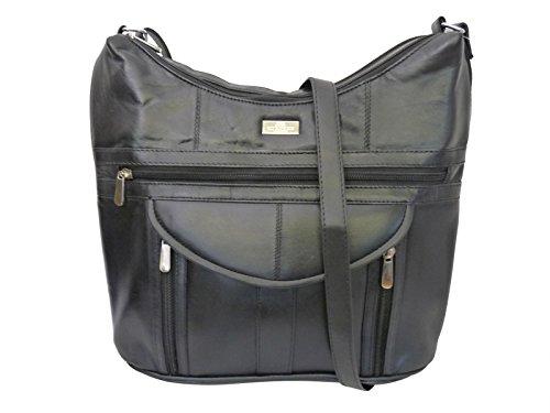 Quenchy london borsa a mano con tracolla da donna nera - 7 tasche - 2 scomparti con zip - tasca interna portacellulare o portafogli - per ufficio, università, shopping, viaggio ql176