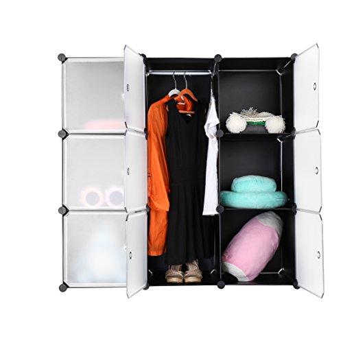 LANGRIA Armario Modular  Estantería por Módulos  Armario de Almacenaje  Para Ropa  Zapatos  Juguetes y Libros  Color Blanco y Negro  9 Cubos
