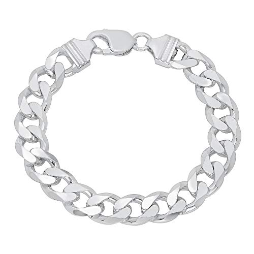 36200d2c4b396 Verona Jewelers Sterling Silver Italian Curb Cuban Link Chain Bracelet for  Men 7.5MM 8MM 9.2MM- 925 Sterling Silver Bracelet for Men, Silver Cuban ...
