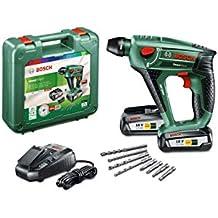 Bosch UneoMaxx - Martillo perforador a batería, 2 baterías, cargador, adaptador de vástago