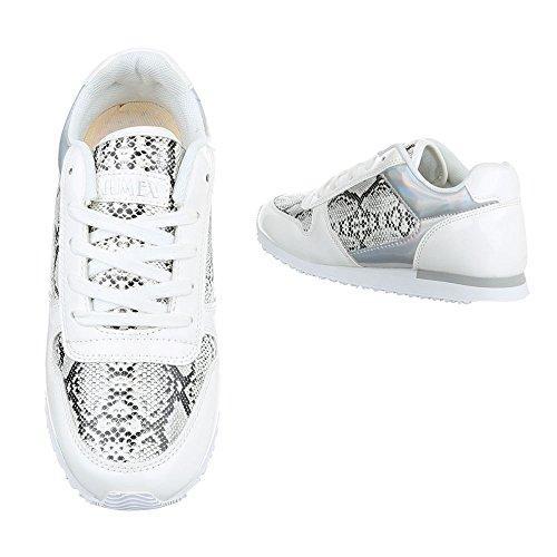 Ital-Design, Sneaker donna Weiß Schwarz A33009