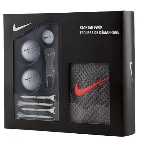 Nike Golf Starter Pack Set Includes 2 Balls, 4 Tees, Divot Tool, Ball Marker and Microfibre Towel (Dark, Grey, Crimson)