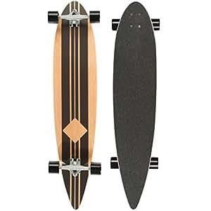 Ultrasport Longboard pour la Pratique en Ville et Dans les Parcs – Planche Complète avec Roulement à Billes ABEC-7 Carving Marron/Noir (Bande)