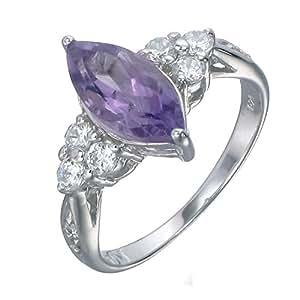 Vir Jewels, Bague Femme Argent fin 925/1000 Violet Amethyste 1.2 Karat, T 59