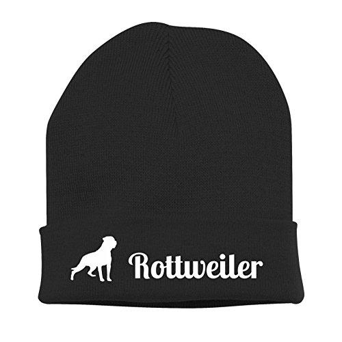 Siviwonder Strickmütze - Rottweiler Hund Hunde Motiv Hundesport Schutzhund - Stickerei Hund Winter Mütze Wintermütze Beanie Mütze schwarz-weiß -