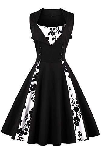 Axoe Damen 50er Jahre Cocktailkleid Rockabilly Elegantes Faltenrock Festliches Partykleider Vintage Kleid Audrey Hepburn Abendkleider mit Polka Dots Knielang, Schwarz-polka Dots, 4XL (50 EU)