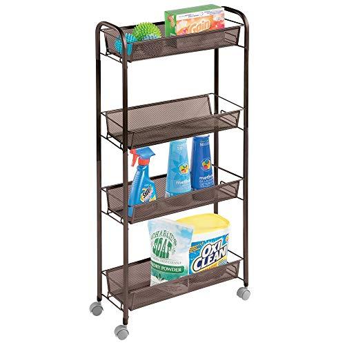mDesign Pratico scaffale metallo 4 scomparti Carrello con ruote per lavanderia e cucina Sostituisce perfettamente gli scaffali per garage o