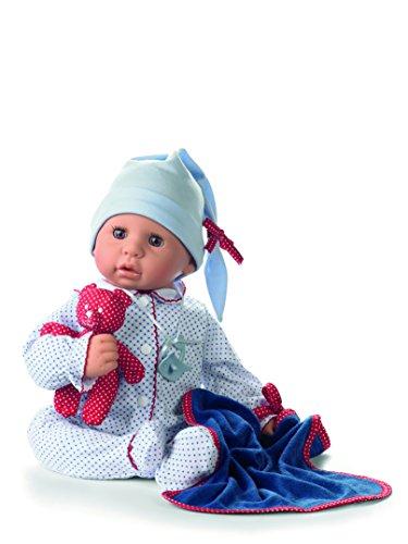 Preisvergleich Produktbild Götz 1161034 Cookie Blue Spots Babypuppe mit braunen Schlafaugen, ohne Haare und einem Weichkörper - 6-teiliges Set bestehend aus Schnuller, Kuscheldecke, Lieblingsteddy und Strampler mit Mütze, Größe 48 cm - geeignet für Kinder ab 3 J.