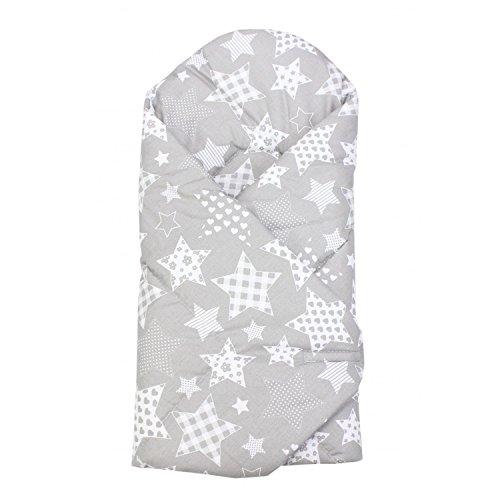 TupTam Baby Unisex Einschlagdecke Wattiert Gemustert ANK003, Farbe: Sterne Grau, Größe: ca. 75 x 75 cm