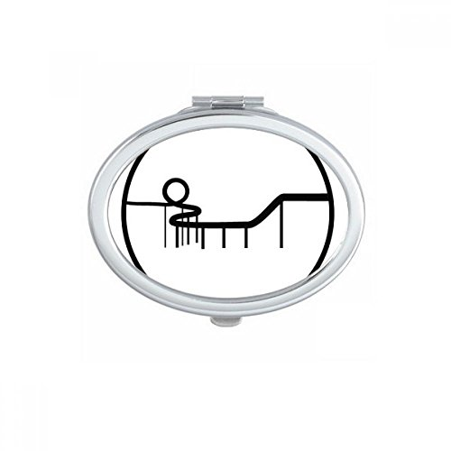 DIYthinker Carousel Amusement Park Silhouette Noire Ovale Miroir de Maquillage Compact Portable Mignon Miroirs de Poche à la Main Cadeau Multicolor