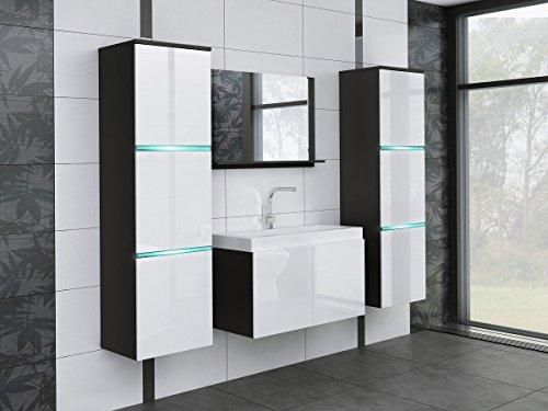 tendencio Salle de Bain complète Aquila avec LED Noir et Blanc laqué
