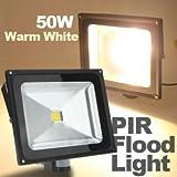 Hohe Qualität 50W 4200LM Warmweiß PIR Motion Sensor Sicherheit Flutlicht 85-265V