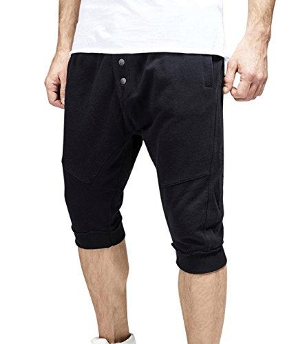 trueprodigy Herren Sweat Shorts Vintage Schwarz Sportlich Slim Fit