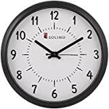 Solimo 11-inch Wall Clock (Step Movement, Black Frame)