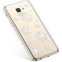 Uposao Handyhülle Samsung Galaxy J6 2018 Schutzhülle Transparent Silikon Schutzhülle Handytasche Crystal Clear Durchsichtige Hülle TPU Cover Weich TPU Bumper Case,Weiß Schneeflocken
