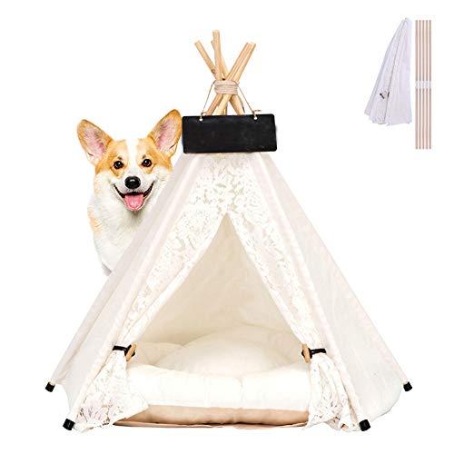 Hunde Tipi Zelt, rutschfest Abnehmbar Waschbar Spitze Katzennest Vier Jahreszeiten Universal Tragbare Hund Camping Bett Mit Matratze/Tafel,L