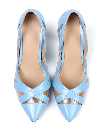UH Femmes Sandales à Bout Pointu Creux Talons Moyen avec Stiletto Elegantes et Confortables Vernis et Nubuck Bleu