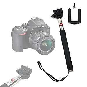 Perche / Selfie Stick télescopique avec support ajustable DURAGADGET pour appareil photo SLR/Bridge Nikon D5500 et Canon Powershot SX530 HS - Garantie 2 ans