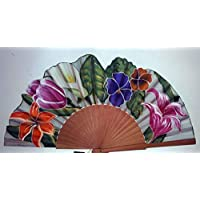 "Abanico""Cala"" seda natural pintado y montado a mano"