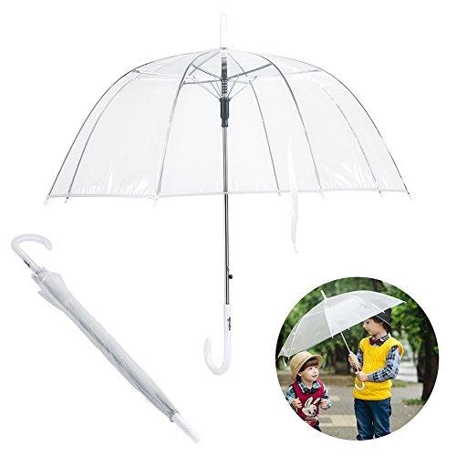 Transparente schirm,Regenschirm Automatischer,schirm durchsichtig,winddichter Regen vorbeugen und Schneebildung verhindern,langer Griff Dame Regenschirm,Regenschirm (Transparent)