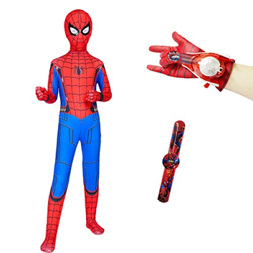 POIUYT Halloween Cosplay Kinder Spider-Man Strumpfhose Heroes Return Stretch Spider-Man Kleidung One Piece Mantel Wrist Launcher Glowing Mask Schal Cape Cloak Set,Package3-140cm