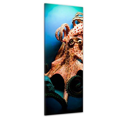 Wandbild Octopus - 30x90 cm Bilder als Leinwanddruck Fotoleinwand Tierbild Leben im Meer - Kraken - riesiger Oktopus