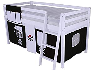 Shorty Cabin Bed Pirate Tent Solid Pine White Frame