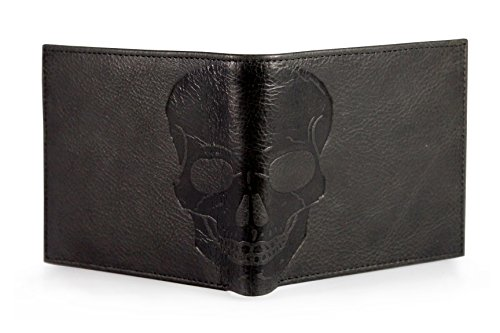 Corder London Unique Skull Embossed distressed Leather Bifold Gothic Slim Wallet - Dark Brown - Tan Brown - Dark Green (Charcoal / Black)