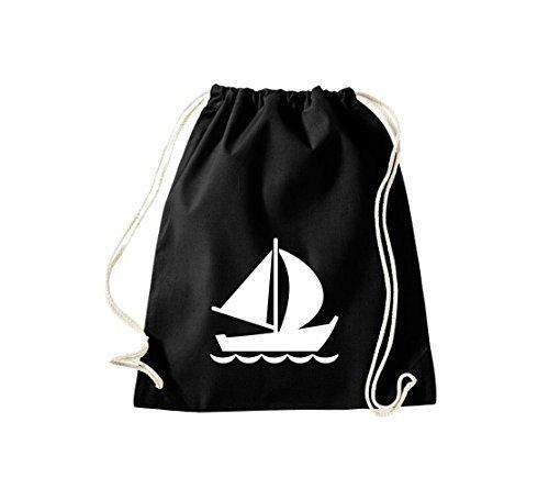Shirtstown Sacca ginnastica Borsa palestra Barca a vela, Gommone, Skipper, Capitano, Molti colori - bianco, 37 cm x 46 cm Nero