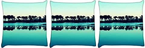 Snoogg Pack of 3 Visit Goa Evenings Digitally Printed Cushion Cover Pillow 14 x 14 Inch