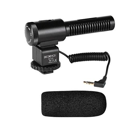 Beschoi - Micrófono Direccional, Micrófono Condensador Estéreo para Cámaras DSLR, Canon, Nikon, Sony y Videocámaras con Interfaz de Audio de 3,5mm, Negro