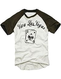 Coole Fun T-Shirts VIVA LAS VEGAS Poker t-shirt Druck vorne karten baseball, Grösse: