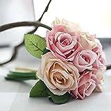 Unechte Blumen,Künstliche Deko Blumen Gefälschte Blumen Seidenrosen Plastik 9 Köpfe Braut Hochzeitsblumenstrauß für Haus Garten Party Blumenschmuck (Rosa Champagner) - 3