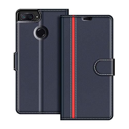 COODIO Xiaomi Mi 8 Lite Hülle Leder, Xiaomi Mi 8 Lite Lederhülle Ledertasche Wallet Handyhülle Tasche Schutzhülle mit Magnetverschluss/Kartenfächer für Xiaomi Mi 8 Lite, Dunkel Blau/Rot