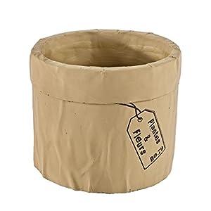BIZZOTTO Cubre macetas de Terracota Efecto Barro con Etiqueta Decorada 15 cm. diam. x 12 cms alt.