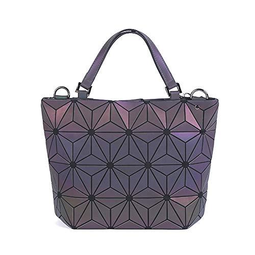 Geometrische Leuchtende Geldbörse und Handtaschen für Damen Holographische Tasche Top-Griff mit Reißverschluss Schließung Messenger Schulranzen Taschen NO.4