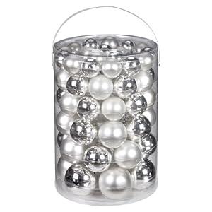 Inge-glas 12000A460MO Kugelsortiment 60 Stück/Vorteilsdose, 18x4 / 20x5 / 16x6 /  6x7 cm, silber glanz / weiß matt