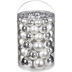 Inge-glas 1200E460 Palline natalizie, confezione da 60, 4, 5, 6 e 7 cm, colore: Argento/Bianco