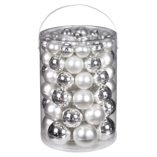 Inge-glas 12000E460 Kugelsortiment 60 Stück/Vorteilsdose, 18x4/20x5/16x6/6x7 cm, silber glanz/weiß matt ('x6'7)