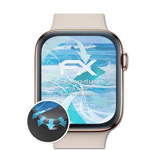 atFoliX Apple Watch 44 mm系列4保护膜 -  3 x FX弯曲透明柔性保护膜 - 全面保护边缘
