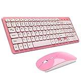 Teclado y Ratón Inalámbrico,SUAVER Teclado Inalámbrico Ergonómico Silencioso Wireless keyboard Mouse(DPI 800/1200/1600),USB,2.4GHz,para PC,Mac (Rosa)