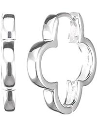Vinani Klapp-Creolen Blume glänzend Sterling Silber 925 Ohrringe CSF1