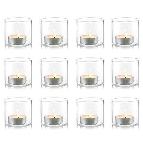 Nuptio Klarer Votiv- / Teelicht-Kerzenhalter aus Glas, ideal für Partys, Hochzeit, besondere Anlässe, Aromatherapie und den täglichen Gebrauch