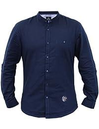 CABALLEROS lino Camisa Deshilachado Cuello MAO MANGA LARGA Trabajo Informal Verano NUEVO - Azul Marino - kmv071pka, Small