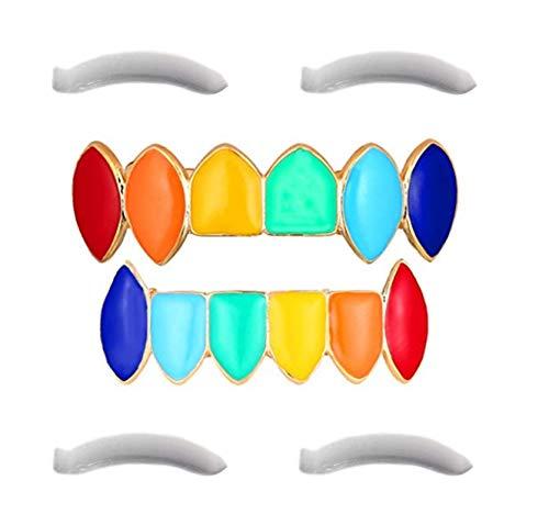 Rainbow Grillz mit Fangzähnen für den Mund Top Bottom Hip Hop Zähne Grills für Zähne Mund + 2 zusätzliche Formleisten, Aufbewahrungskoffer + Mikrofasertuch