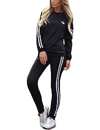 Tomwell Mujer Chándales 2 Piezas Set Deportes Gimnasio Entrenamiento de Yoga Manga Larga Sweatshirt + Pantalones Fitness Elástico Leggings