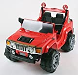 Charles Jacobs Kids Ride On Car Red HUMMER Style Electric Battery Toy 12V, Massive Twin Seat Jeep