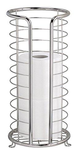 mDesign Portarotoli di Carta Igienica Autoportante per Bagno - Acciaio Inox Lucido