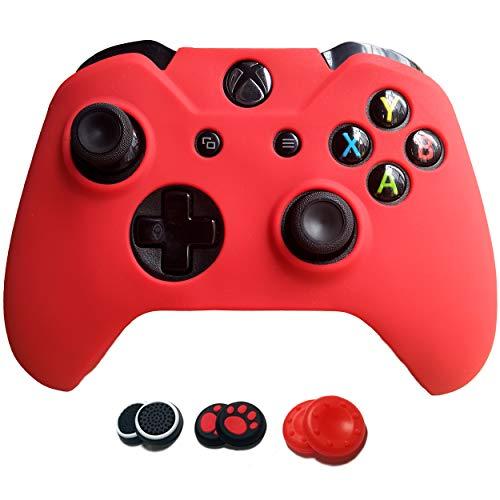 Grips für Microsoft Xbox One Controller easyCool Anti-Rutsch-Silikonhülle Schutzhülle mit sechs Daumengriffkappen 1g red