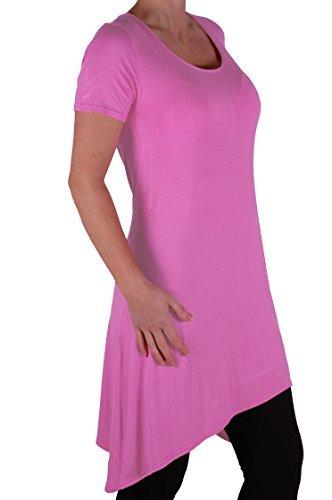EyeCatch Plus – T- Shirt uni manches courtes drapé col rond stretch – Femme Rose